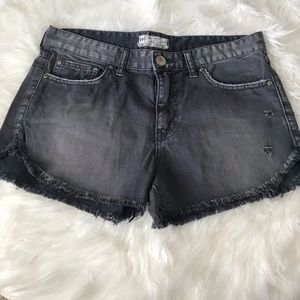 Free People distressed gray denim hi rise shorts
